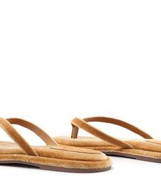 Homewear Flat Flip Flop Ava Velvet Açafrão