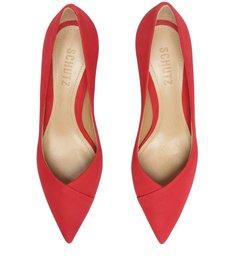 Sapato Scarpin Salto Médio Nobuck Vermelho