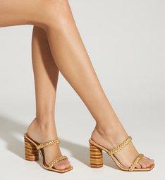 Sandália Mule Trança Gold
