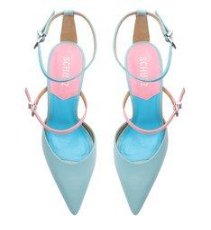 Sapato Scarpin Salto Alto Daniela Couro Azul