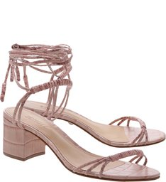 Sandália Block Heel Lace-Up Rose
