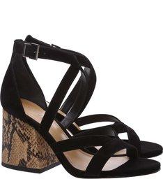 Sandália Block Heel Snake Black