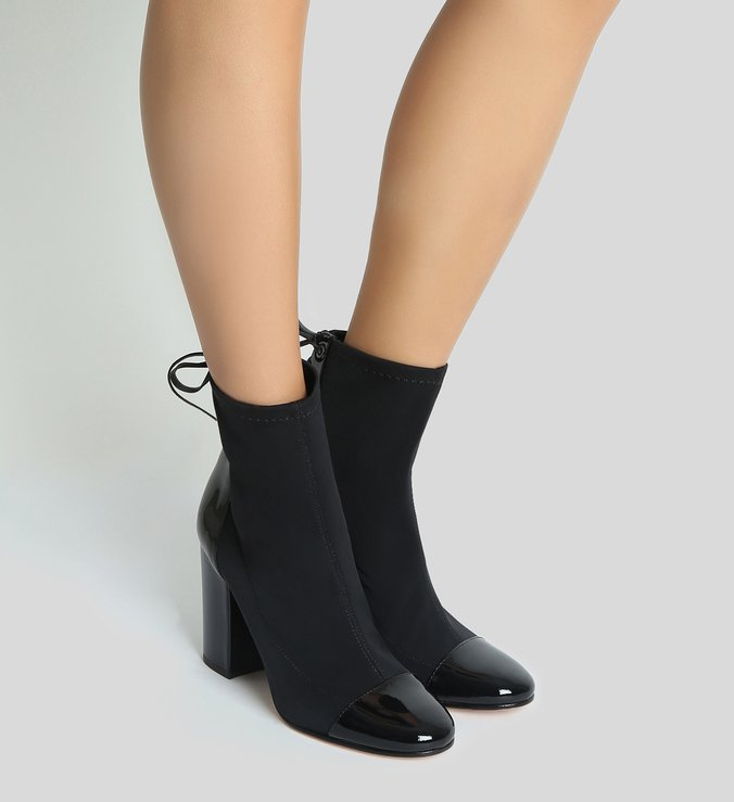 Sock Boot Back Lace-Up Verniz Black