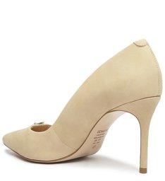 Sapato Scarpin Salto Fino Nobuck Bege