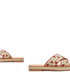 Slide Flatform Cross Palha Red