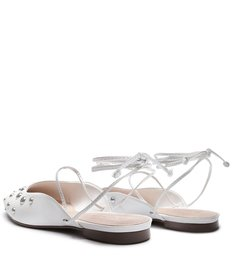 FLAT BALLERINA LACE-UP WHITE