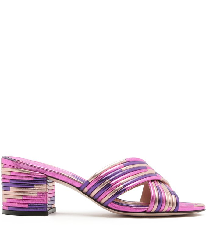 Mule Textures Block Heel Metallic Purple | Schutz