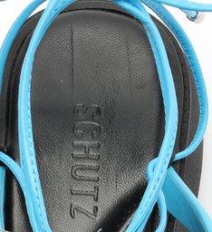 Sandália Papete Flatform Tiras Azul