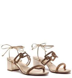 Sandália Block Heel Glam Baroque Gold
