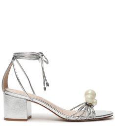 Sandália Block Heel Pearls Prata