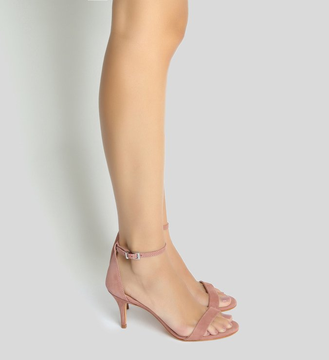 Sandália Gisele Kitten Heel Nobuck Peach