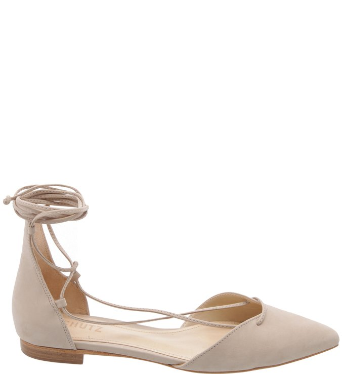 Sapatilha Bico Fino Lace Up Oyster