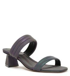 Sandália Mule Salto Baixo Tiras Azul