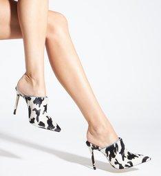 Sapato Mule Salto Nobuck Estampa Preto e Branco