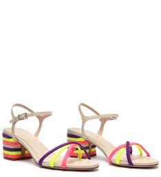 Sandália Block Heel Texture Fresh Pink/Neon