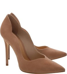 Sapato Scarpin Nobuck Curves Bege