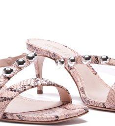 Sandália Mule Pearls Python Rose
