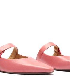 Sapato Mule Flat Couro Rosa
