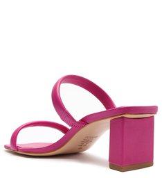Sandália Mule Salto Bloco Baixo Couro Rosa