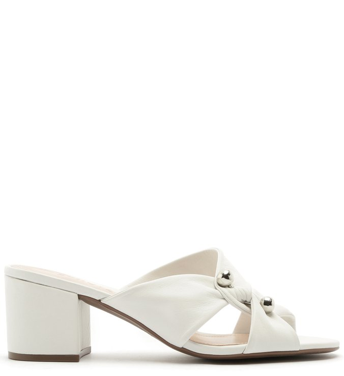 Mule Block Heel Twist Metallic Pearl White | Schutz