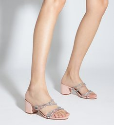 Sandália Mule Block Heel Glam Rose