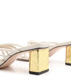 Mule Block Heel Gold & White