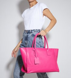 Bolsa Shopping Grande Agnes Couro Pink