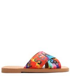 Sandália Rasteira de X Slide Logo Schutz Estampa Colorida
