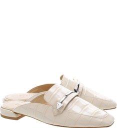 Flat Mule Croco White