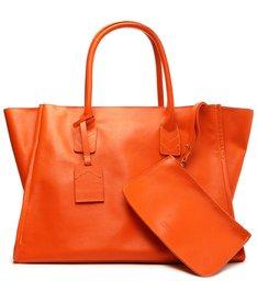 Bolsa Shopping Grande Agnes Couro Laranja