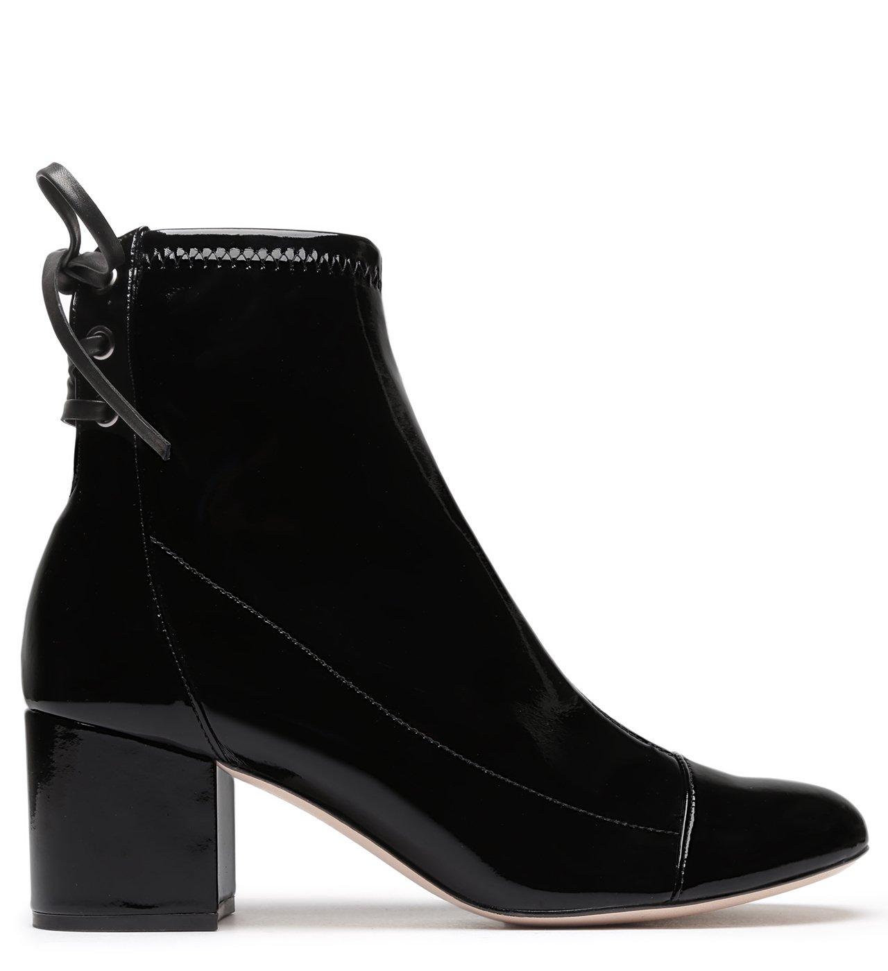 Bota Amarração Block Heel Verniz Black | Schutz
