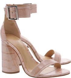 Sandália Salto Cone Croco Rose