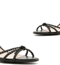 Sandália Salto Tressê Python Black