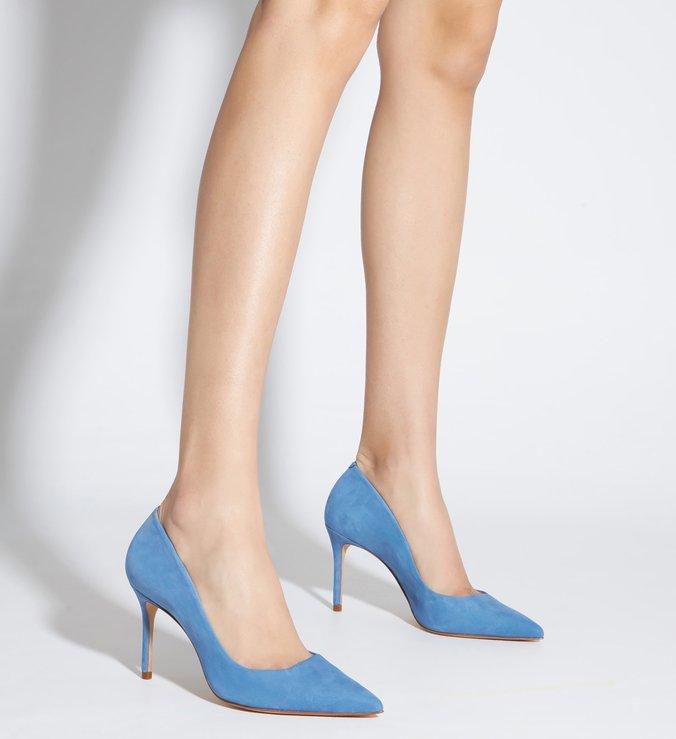 Sapato Scarpin Salto Fino Nobuck Azul Jeans