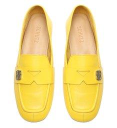 Sapato Mocassim Couro Amarelo