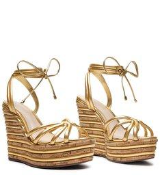 Sandália Anabela Fresh Glam Gold