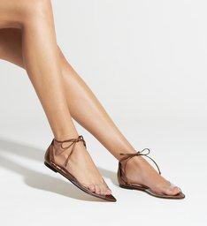 Sandália Rasteira Lace-Up Vinil Bronze