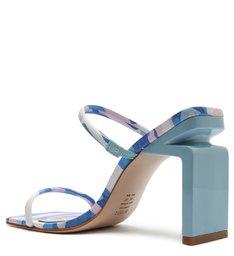 Sandália Mule Salto Alto Kattie Couro Estampa Azul