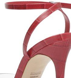 Sandália de Salto Vinil Transparente Vermelha