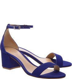Sandália Minimal Block Heel Nobuck Blue
