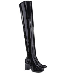 Bota Maxi Over The Knee Verniz Black