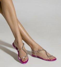 Sandália Rasteira Curves Vinil Metallic Violet