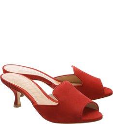 Mule Kitten Heel Tango Red