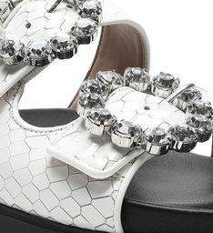 Flat Slide Glam Pedraria Buckles White