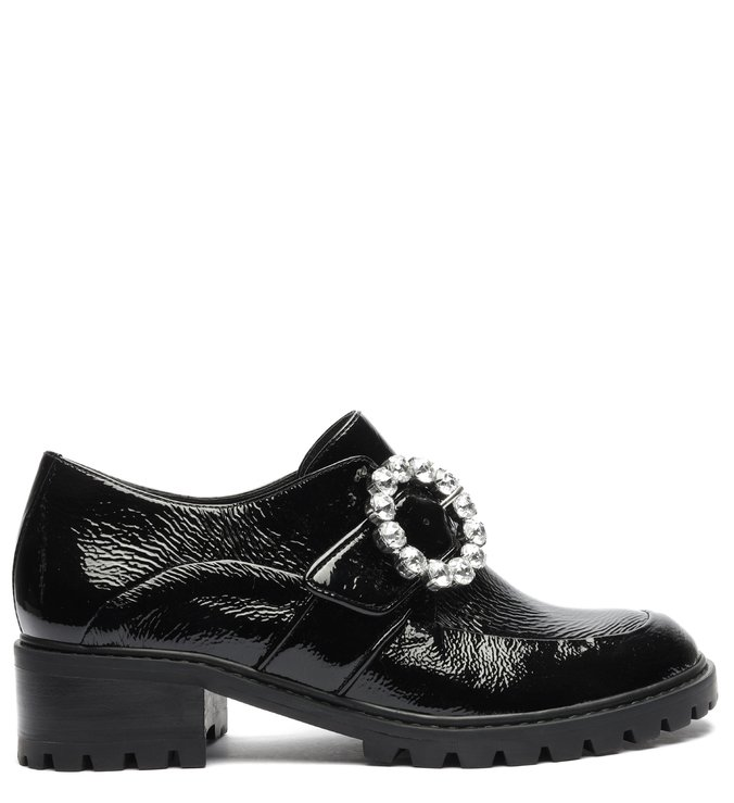 Sapato Oxford Tratorado Verniz Fivela Preto
