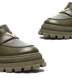 Sapato Mocassim Tratorado Couro Triangle Verde-Militar