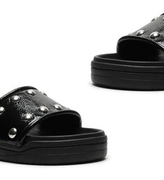 Slide Bold Verniz Studs Black