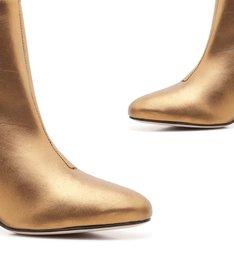 Bota Slim Salto Bloco Metalizada Bronze