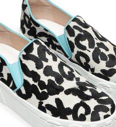 Tênis Slip On Mauli Leopard Preto E Branco