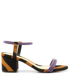 Sandália Salto Bloco Zebra Roxa